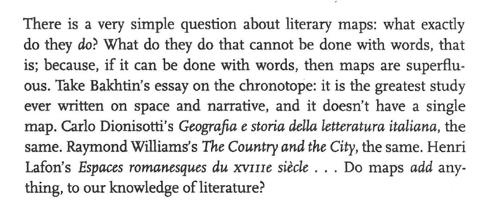 Franco Moretti quote, p. 35 of Graphs, Maps, Trees